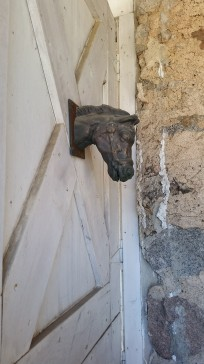 Bronze horse on barn door 'At The Farm', Waconia, MN, minnesota, country, farm, cottage, rustic, eroseco