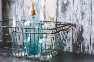 antique vintage seltzer bottles bottle aqua glass dairy basket industrial farmhouse cottage country #eroseco
