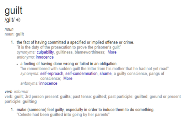 guilt defined definition synonym #eroseco