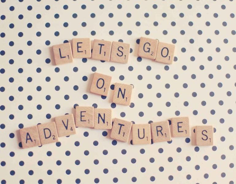 adventure, letters, polka dot, eroseco