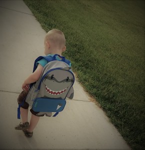 toddler, preschool, prek, school, shark, backpack, special needs, parenting, motherhood, eroseco