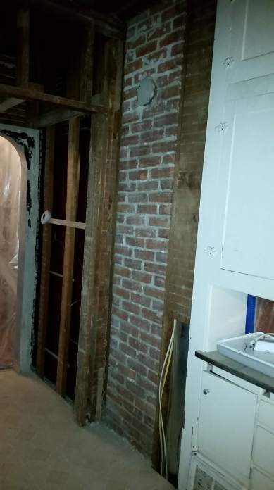 kitchen reno renovation remodel demo before after gut reveal #eroseco chimney