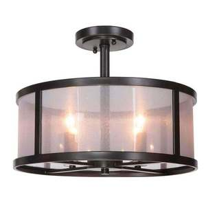 ceiling light chandelier kitchen fixture semi-flush mount semi flush bronze black glass #eroseco