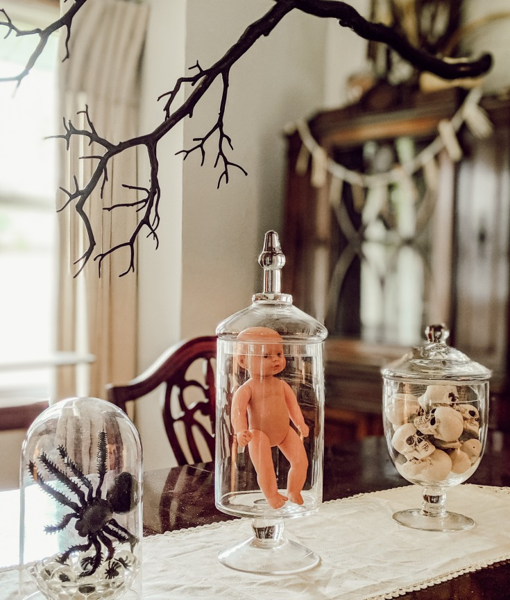 scary spooky dining decor table halloween baby doll skulls spider glass E Rose Co