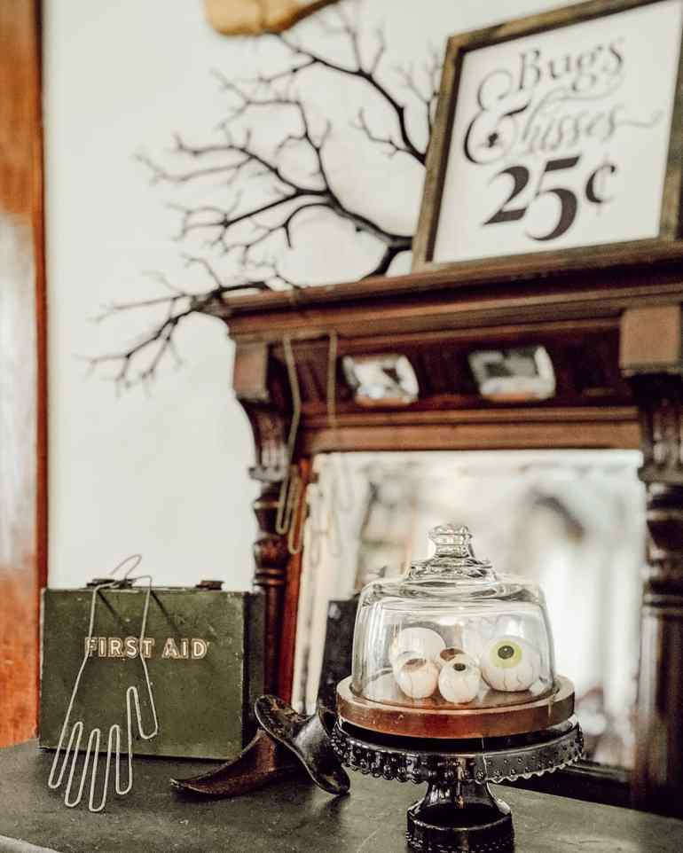 vignette dining decor table halloween eyeballs glass sign farmhouse country cottage cake
