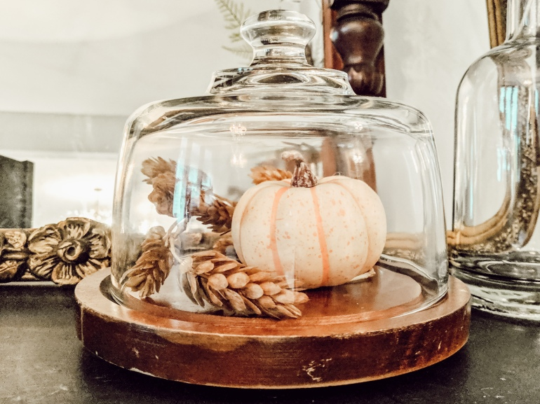 white pumpkin, vintage glass, dome, bell jar, cake plate,