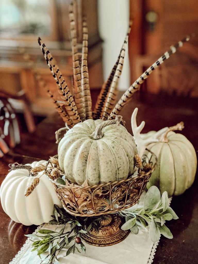 home decor pheasant neutral autumn fall pumpkins green white