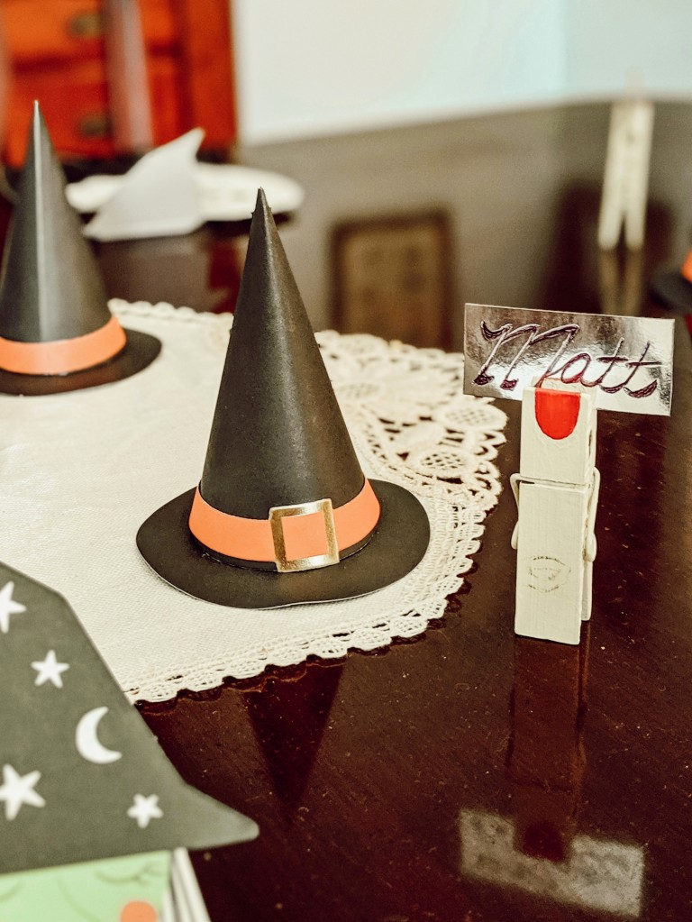 diy, clothespins, fingers, country, cottage, witch hats, dining room
